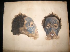 Goldfuss C1830 LG Folio Hand Col Print. Superb New Zealand Maori Tattoo Man